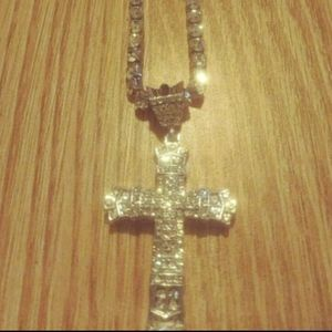 Mens Iced Out 18k gold plated cross and tennis cha